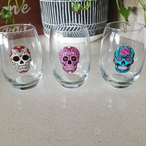 stemless wine glasses Halloween decor day of dead